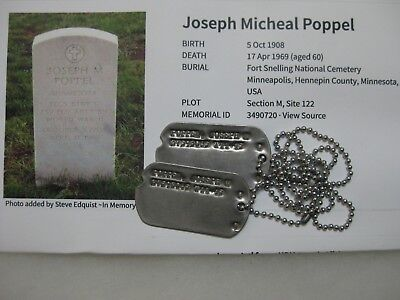 Wwii Us Army Dog Tags Set From Minnesota & Fort Snelling Grave Photo Poppel Name