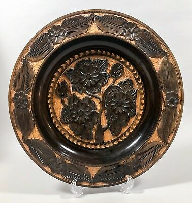 Antique hand-carved Black Forest style large wooden charger hanging plate floral