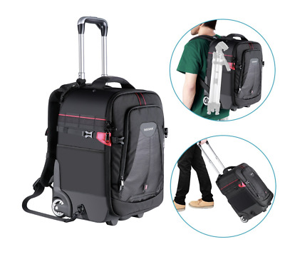 Neewer 2-in-1 Rolling Camera Photography Video Backpack Trolley Protective, Red
