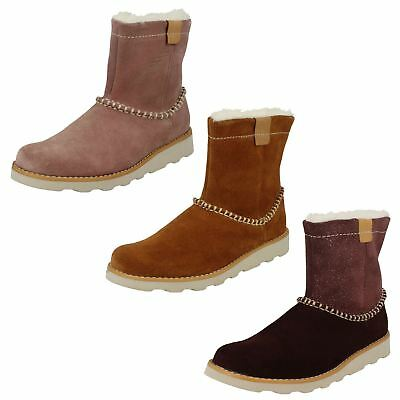 Girls Clarks Crown Piper Casual Suede Warm Lined Boots