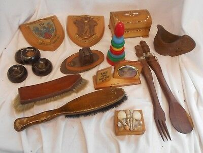 Vintage JOB LOT of WOODEN Treen Items BRUSH Boxes CASTERS Shields Collectable