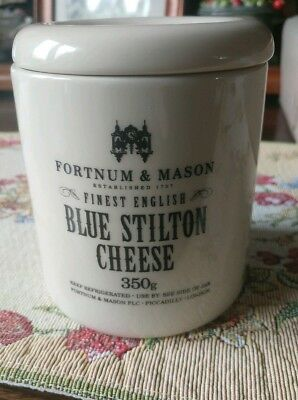 Fortnum & Mason empty potted blue stilton cheese with colourful illustration.