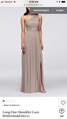Davids Bridal One Shoulder Lace Long Bridesmaid Dress