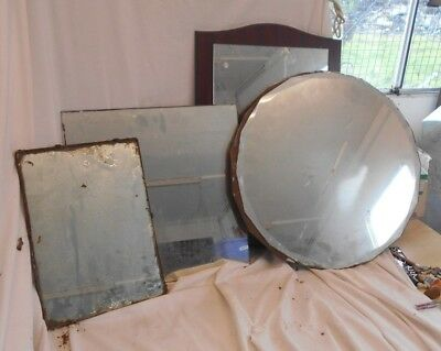 Vintage JOB LOT of 1930s 1940s 1950s MIRRORS Large WOODEN Beveled 50cms