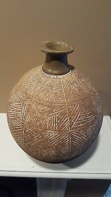 Large Incised Modernist Studio Pottery Jar