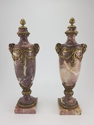 LARGE antique pair of French cassolette vases bronze & marble Ram heads 18.9in