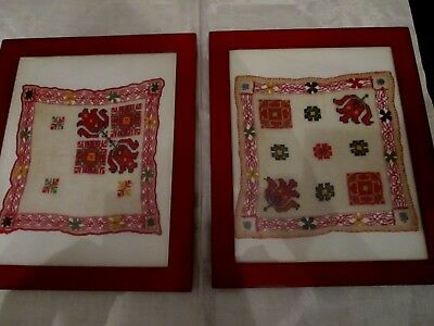 2 Antique framed hand Embroidered, pull thread border red design hankies tulip