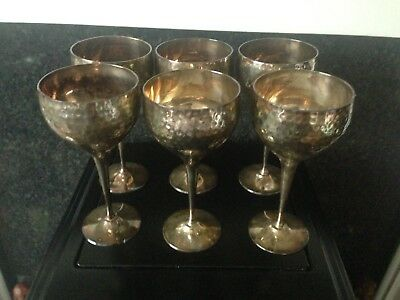 6 Vintage Silver Plated Hand Beaten Goblets