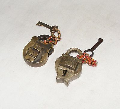 Old Vintage Handcrafted Unique Brass Pad Locks With Original Key Collectible 004