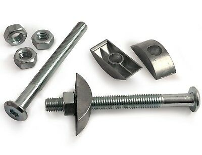 M8 Furniture Connector Bed Cot Bolts With Half Moon Luna Washers & Hex Nuts