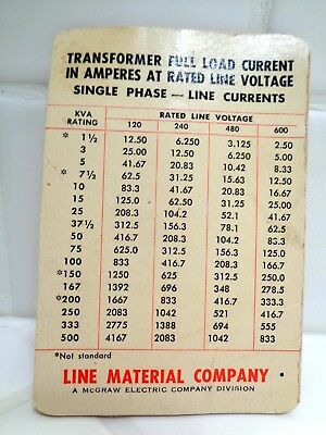 VTG 1950s LINE MATERIAL COMPANY MCGRAW ELECTRIC TRANSFORMER CURRENT BROCHURE
