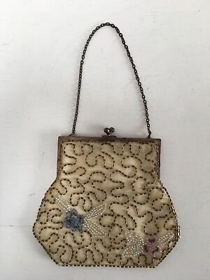 Vintage 1920s 30s dainty FOREIGN hand beaded cocktail Bag gold tone frame