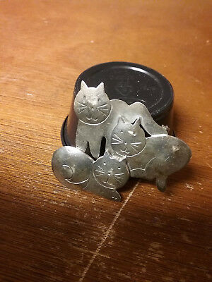 Vintage 1980's Mexico 925 Sterling Silver, 3 Cats Pin Brooch Gently Used