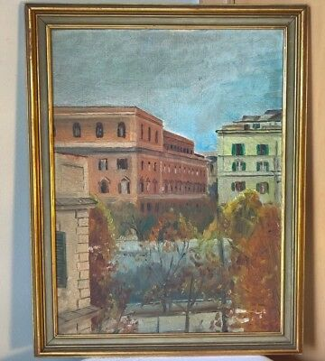 Nice Antique Old Impressionist Citiyscape Oil Painting