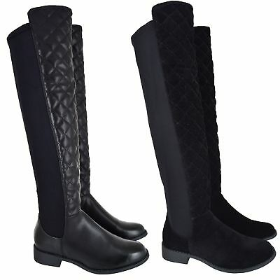 Ladies Womens High Over The Knee Stretch Flat Elasticated Low Heel Boots Siz 3-8