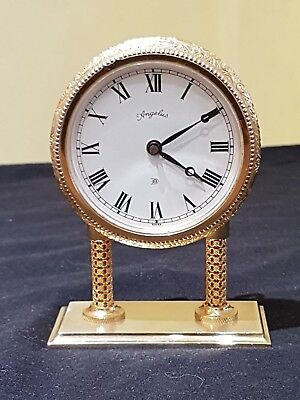 Unusual Rare Vintage Angelus 8 day Brass  mantle,Carriage,Desk, clock