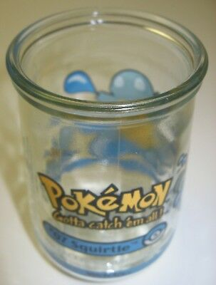1999 Nintendo Collectible Pokemon #07 SQUIRTLE Welch's Jelly Jar Juice Glass EUC