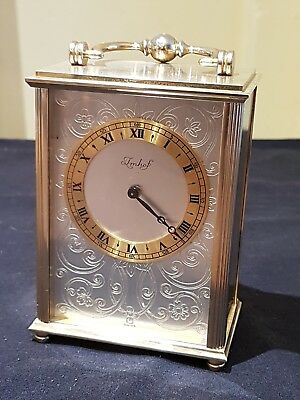 Beautiful Vintage Imhof 8 Day Mechanical Swiss Made Brass Carriage,mantle Clock