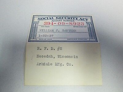 Vintage 1937 Social Security Act Card