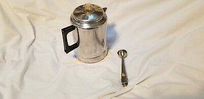 Vtg Mirro Aluminum 12 Cup 3 Quart Stove Top Coffee Pot Percolator Camping Spoon
