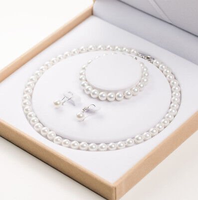 7.5-8.5mm Real Natural  Pearl Necklace Bracelet Earrings Jewelry Set