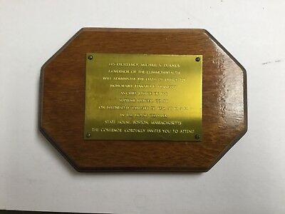 Brass Mounted Invitation to Cheif Justice Hennesey Swearing In - Massachusetts