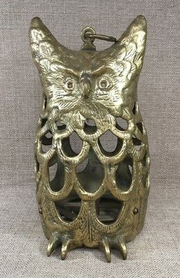 """Solid Brass 10.5"""" Owl Hanging Table Top Garden Candle Lantern"""