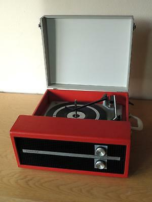 Vintage 1974 Record Player Fidelity HF45 in Red Autochanger Serviced Warranty.
