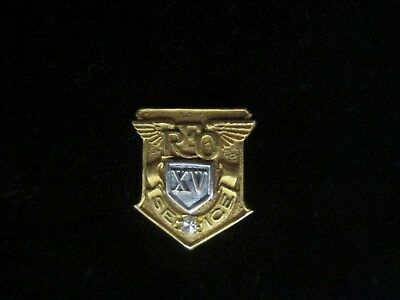 Reo 15 Year Service Pin With 1 Diamond, 14K Gold (2 Grams Aprox.)