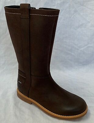BNIB Clarks Girls Tildy High Brown Leather Gore Tex Boots F/G Fitting