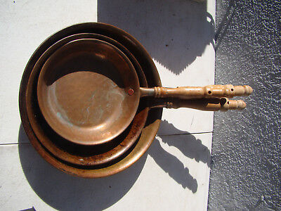 Set of three (3) Vintage Hammered Copper Pans With Wood Handles