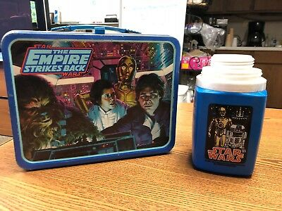 Vintage 1980s Star Wars The Empire Strikes Back Tin Lunchbox and Thermos