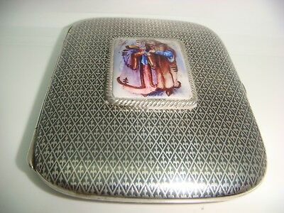 Antique Solid Silver Cigarette Case Enamel Russian silver and niello