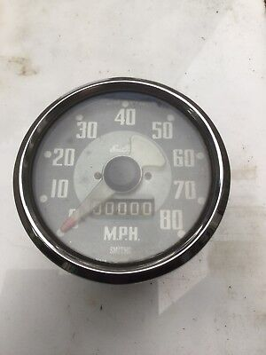 Smiths  EnFo Vintage Grey Faced 80 MPH Speedometer 000000 miles