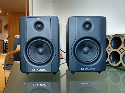 Pair of M-Audio BX5 D2 active studio monitor speakers + Spikes & free xlr cable