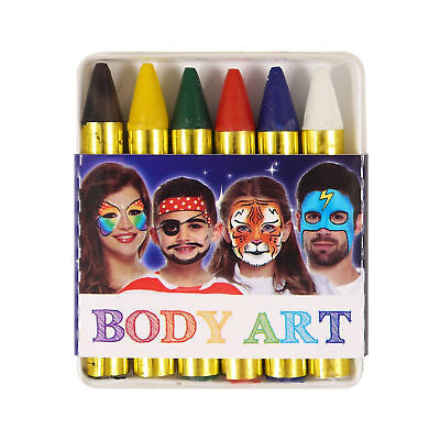 Face Paint Sticks Crayons - 6 Colours - Halloween Make Up Body White Black Red