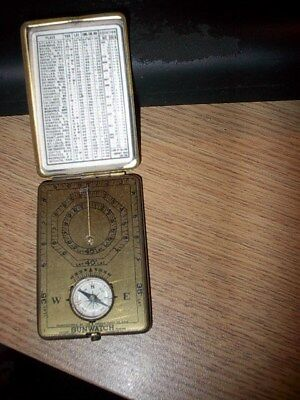 ANSONIA CLOCK CO. vintage SUNWATCH fold-up BRASS POCKET COMPACT W/ COMPASS
