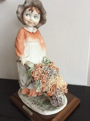 "Capodimonte , Florence,"" Girl With Flowers""  By G. Armani, Mint"