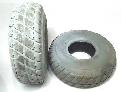 """3.00-4 (10""""x3"""", 260X85) Solid Foam-Filled Mobility Tires w/ Durotrap C9210 Tread"""