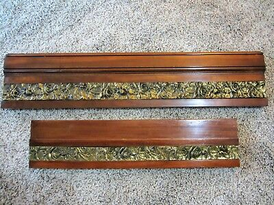 2 Mahogany ART NOUVEAU Bronze Furniture Pediment Victorian Architectural Salvage