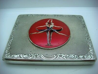 Antique Solid Silver Cigarette Case & Enamel Czech circa 1920-30