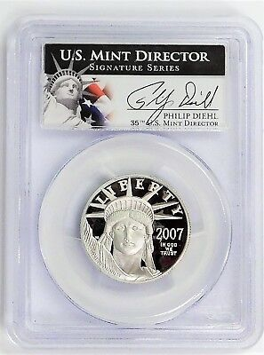 2007 $50.00 1/2 oz. Platinum Eagle PCGS PR69DCAM Signed Philip Diehl