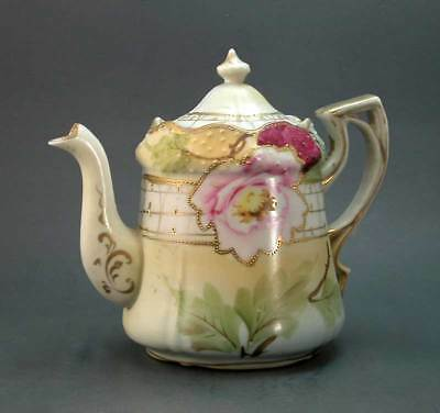 Nippon Teapot Rose Trellis Hand-Painted Signed