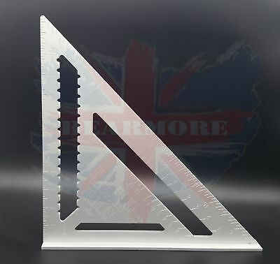 """12 inch 7"""" ROOFING SPEED SQUARE ALUMINIUM RAFTER ANGLE MEASURE TRIANGLE GUIDE"""