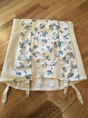 Vintage Flower Pattern Open Bottom Girdle with suspenders waist size 28 inches