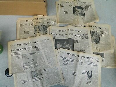 July 1969 Apollo 11 Space program Gettysburg PA Newspapers 8 Total