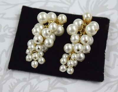 "Vintage Gold Tone Faux Pearls Cluster Earrings Clip On 2"" tall"