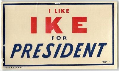 I Like Ike For President Dwight Eisenhower Political Campaign Paper Decal