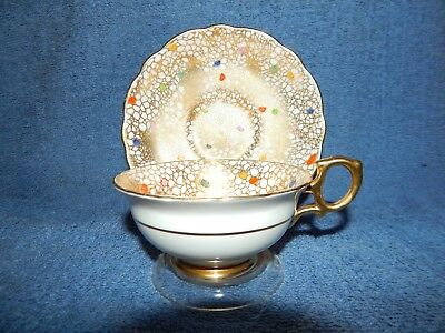 Rare Hammersley Carnival Dots Chintz/Gilt Gold Trimming Tea Cup & Saucer 4575F
