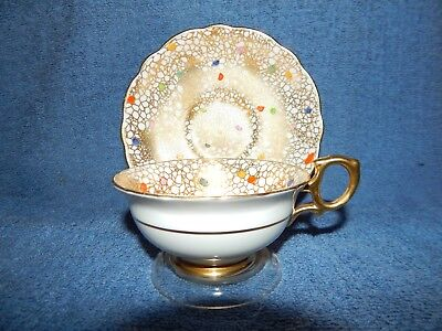 Rare Hammersley Carnival Dots Chintz / Gilt Gold Trimming Tea Cup & Saucer 4575F